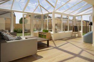 P Shape Conservatory Dwarf Wall White Glass Roof