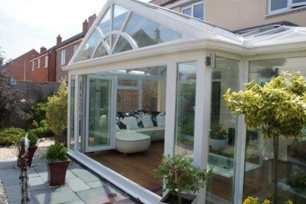 T Shape, Full Height Glass, White, Glass Roof