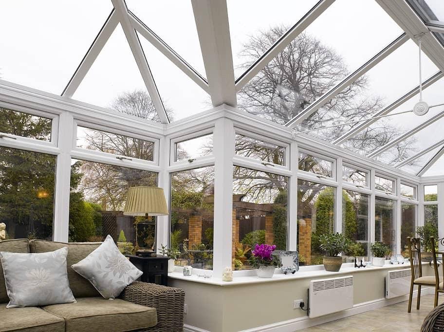 p-shape conservatory with radiator