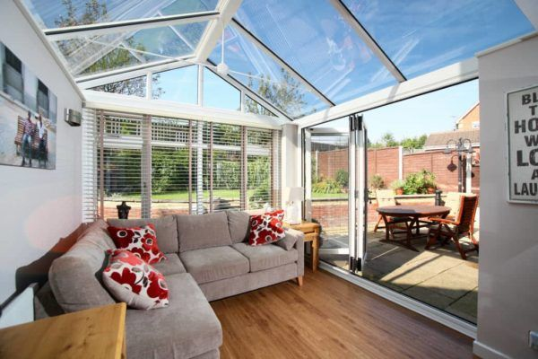 Gable Front Conservatory, White, Dwarf Wall