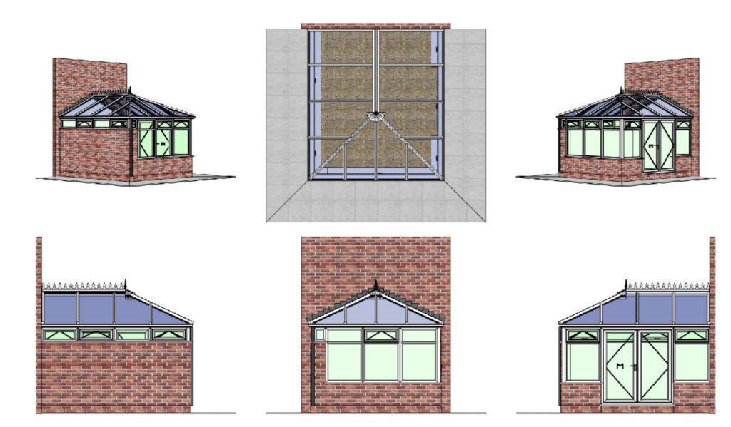 cad drawing of bespoke edwardian conservatory