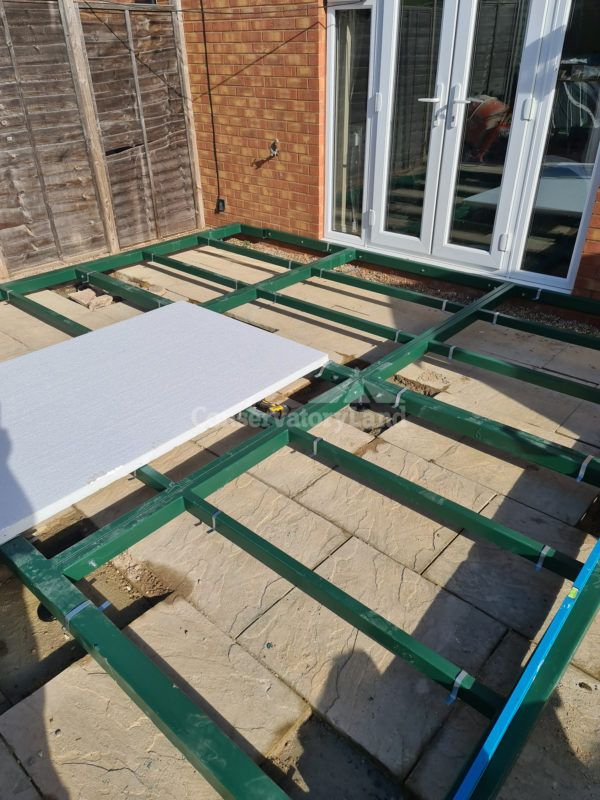 steel base frame and insulation